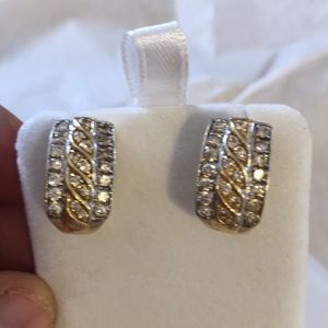 Diamond earrings with 14k gold